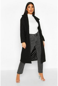 Womens Black Petite Teddy Faux Fur Oversized Coat