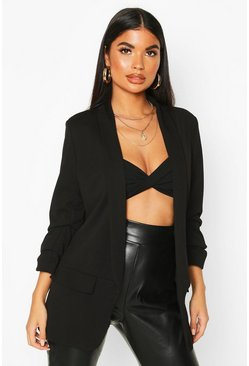 Petite Ruched Sleeve Blazer, Black, DAMEN