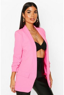 Pink Petite Ruched Sleeve Blazer