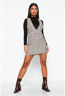 Womens Black Petite Tonal Check Belted Pinafore Dress
