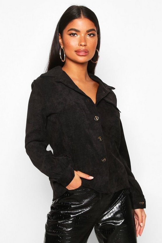 Black Petite Volume Sleeve Mock Horn Button Shirt