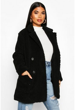 Womens Black Petite Double Breasted Teddy Coat