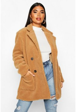 Camel Petite Double Breasted Teddy Coat