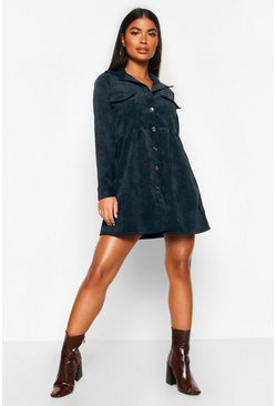 Womens Black Petite Cord Smock Shirt Dress