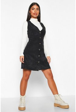 Womens Black Petite Cord Pinafore