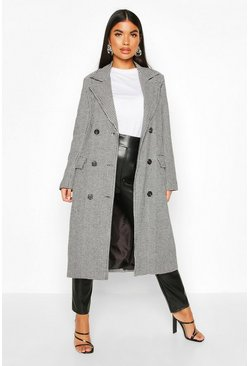 Petite Dogtooth Double Breasted Longline Coat, Black, ЖЕНСКОЕ