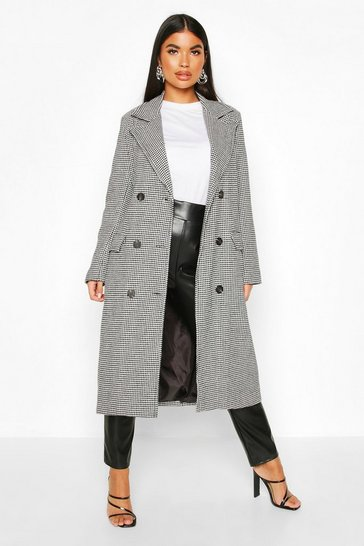 Womens Black Petite Dogtooth Double Breasted Longline Coat