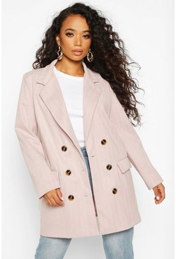 Womens Pink Petite Herringbone Wool Look Double Breasted Coat