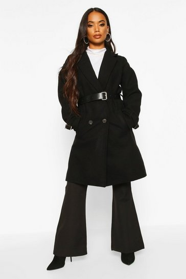 Black Petite Belted Wool Look Trench Coat