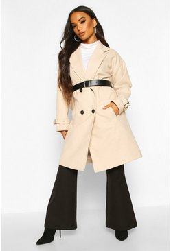 Womens Sand Petite Belted Wool Look Trench Coat