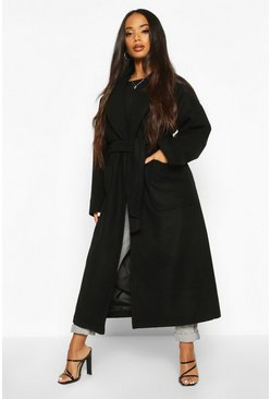 Womens Black Petite Belted Patch Pocket Longline Wool Look Coat