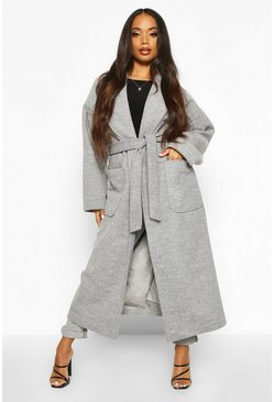 Womens Grey Petite Belted Patch Pocket Longline Wool Look Coat
