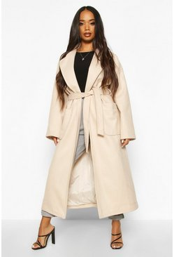 Sand Petite Belted Patch Pocket Longline Wool Look Coat