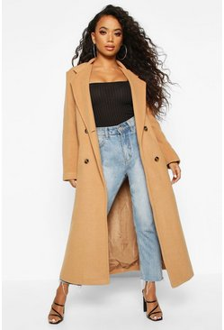 Camel Petite Belted Double Breasted Wool Look Coat