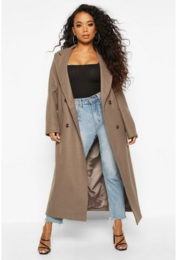 Mocha Petite Belted Double Breasted Wool Look Coat
