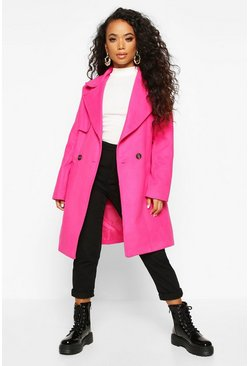 Bright pink Petite Wool Look Pocket Detail Coat