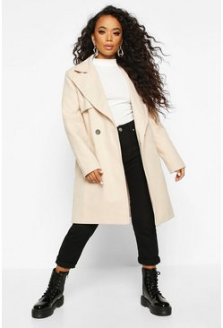Camel Petite Wool Look Pocket Detail Coat