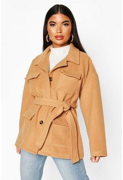 Dam Camel Petite Wool Look Belted Utility Jacket
