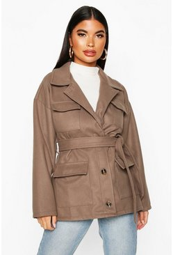 Petite Wool Look Belted Utility Jacket, Mocha