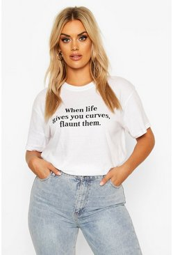 Womens White Plus Flaunt Curves Slogan T-Shirt