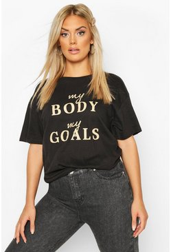 Womens Black Plus Body Goals Slogan T-Shirt