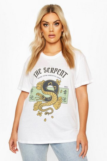 Womens White Plus The Serpent Slogan T-Shirt