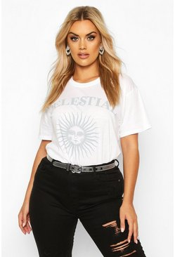 Womens White Plus Celestial Sun and Moon Slogan T-Shirt