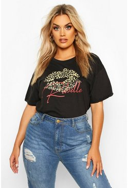 Womens Black Plus Leopard Lips Rebel Slogan T-Shirt