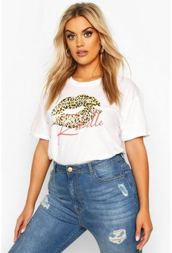 White Plus Leopard Lips Rebel Slogan T-Shirt