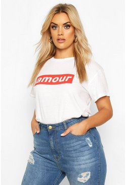 Womens White Plus Amour Block Print Slogan T-Shirt