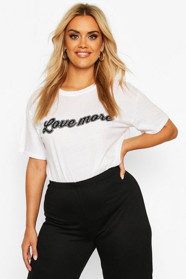 Womens White Plus Love More Slogan T-Shirt