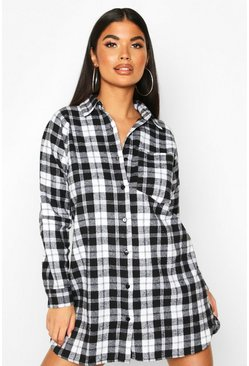 Womens Black Petite Pocket Detail Check Shirt Dress
