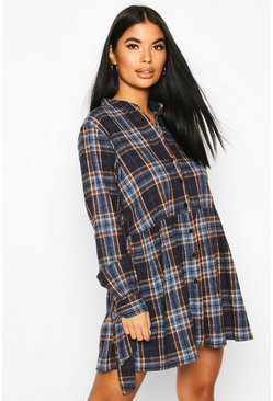 Navy Petite Volume Sleeve Check Button Smock Dress