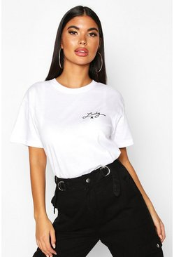 Womens White Petite 'Lucky' Slogan T-Shirt
