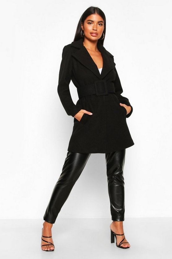Black Petite Self Belted Wool Look Coat