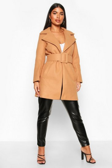 Womens Camel Petite Self Belted Wool Look Coat