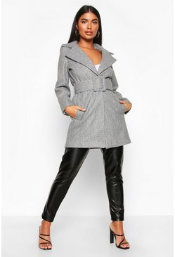 Petite Self Belted Wool Look Coat, Grey, DAMEN