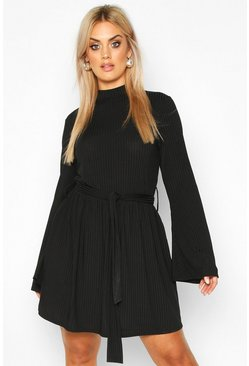 Womens Black Plus Jumbo Rib Flare Sleeve Tie Waist Skater Dress