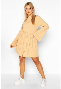Womens Camel Plus Jumbo Rib Flare Sleeve Tie Waist Skater Dress