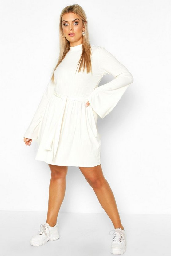Cream Plus Jumbo Rib Flare Sleeve Tie Waist Skater Dress
