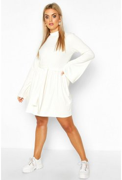 Womens Cream Plus Jumbo Rib Flare Sleeve Tie Waist Skater Dress