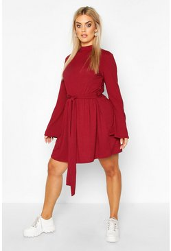 Womens Wine Plus Jumbo Rib Flare Sleeve Tie Waist Skater Dress