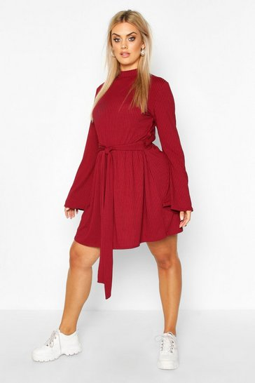 Wine Plus Jumbo Rib Flare Sleeve Tie Waist Skater Dress