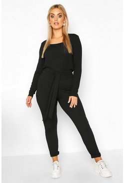Black Plus Jumbo Rib Tie Waist Top & High Waist Trouser Co-ord