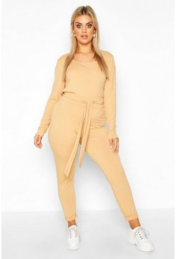 Plus Jumbo Rib Tie Waist Top & High Waist Trouser Co-ord, Camel
