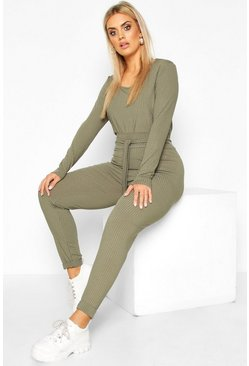Khaki Plus Jumbo Rib Tie Waist Top & High Waist Trouser Co-ord