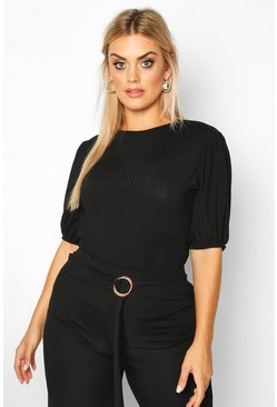 Womens Black Plus Jumbo Rib Puff Shoulder Top