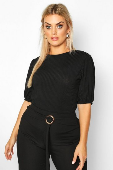 Black Plus Jumbo Rib Puff Shoulder Top
