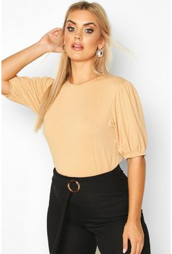 Plus Jumbo Rib Puff Shoulder Top, Camel, MUJER