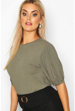 Womens Khaki Plus Jumbo Rib Puff Shoulder Top